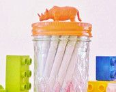 $12 Orange Rhinoceros Lid Jar. Perfect for organising kids room or play room, storage for stationary, craft supplies or treasures, coin jar etc Handmade by Little Jar Creations on Etsy