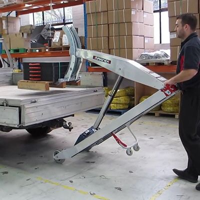Last year we showed you this cool crane that folds into the bumper of your truck. This year we've spotted another neat power lifting device, this one completely mobile, which allows a single user to effortlessly hoist and transport up to 390 pounds. Developed by Australia's Makinex Construction Products, the