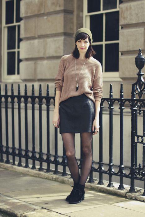 skirt + oversized sweater + necklace