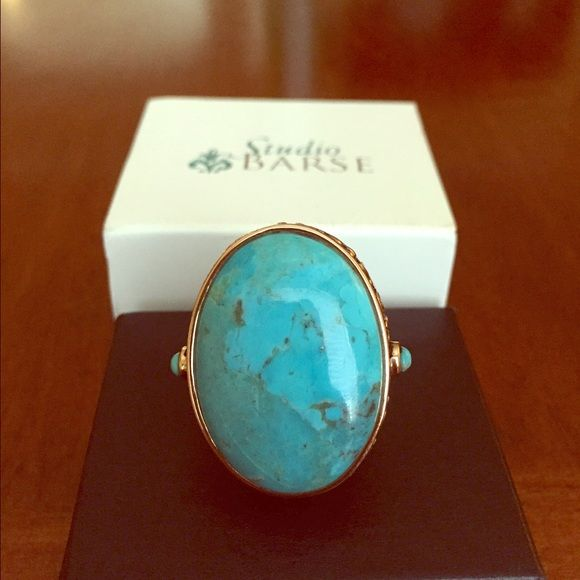 Beautiful and bold Studio Barse turquoise ring. Turquoise, sterling silver (stamped 925) and bronze textured bezel scroll design. Get the edge you crave with this bold ring from Studio Barse. Comes with original box and pouch. Size 7 Studio Barse Jewelry Rings