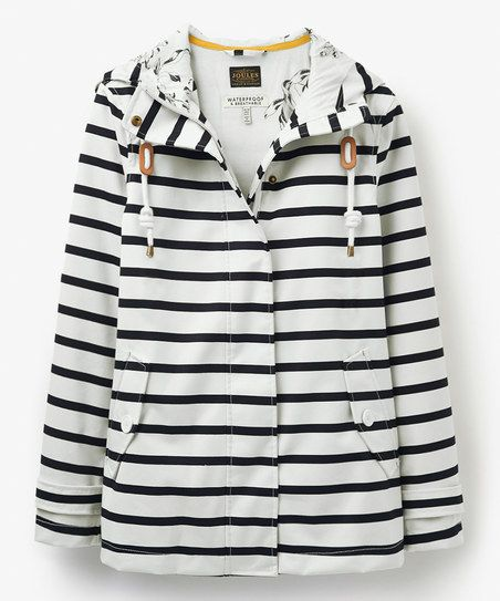 Joules Black Stripe Coast Raincoat - Women | zulily