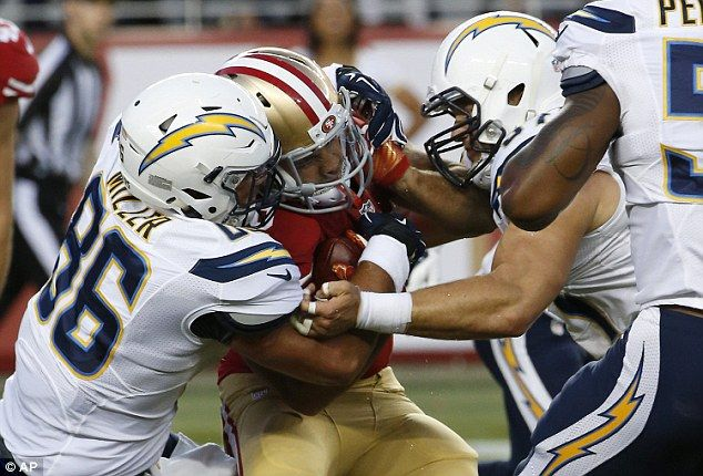 San Francisco 49ers' Jarryd Hayne, center, is tackled by San Diego Chargers' Kyle Miller (86) and Colton Underwood during the first half of an NFL preseason football game in Santa Clara