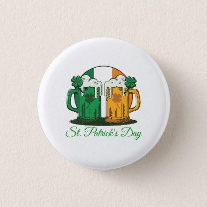 St. Patrick's Day. Beer Stein. Ireland Flag. Button - st. patricks day gifts irish ireland green fun party diy custom holiday