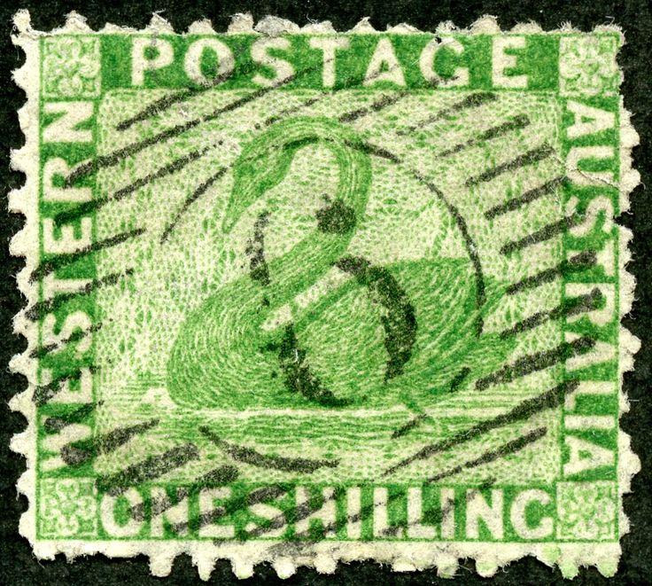 "Western Australia 1865 Scott 34 1sh bright green ""Swan"""
