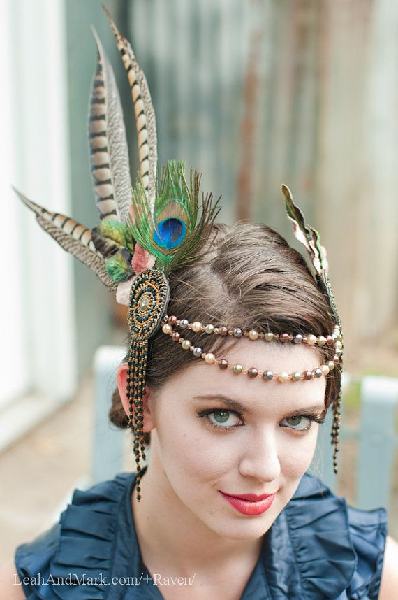 Pearl and Feather Headdress with Swarovski Crystals