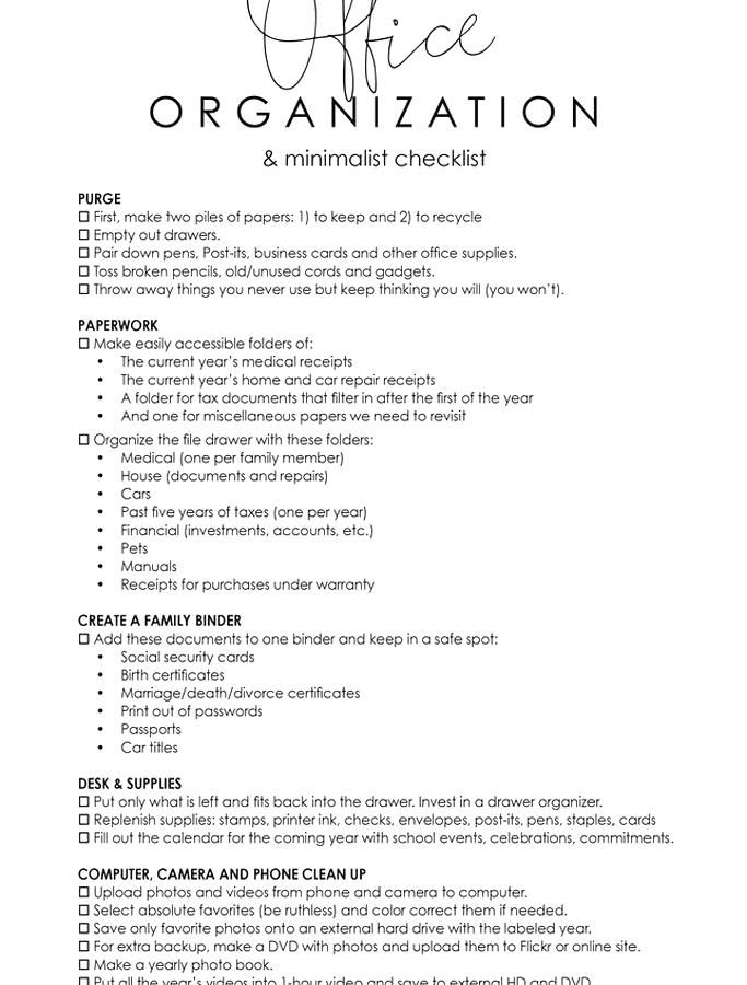 Officeanization And Minimalist Printable Checklist In 2020 Sample Resume Resume Computer Technology