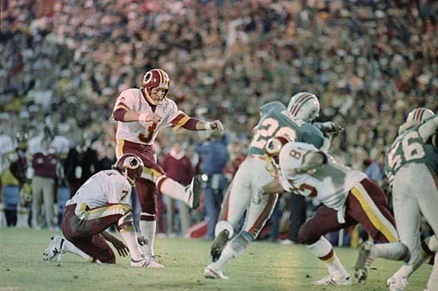 In 1982, Washington Redskins kicker Mark Moseley won the league MVP award. Description from thesportspost.com. I searched for this on bing.com/images