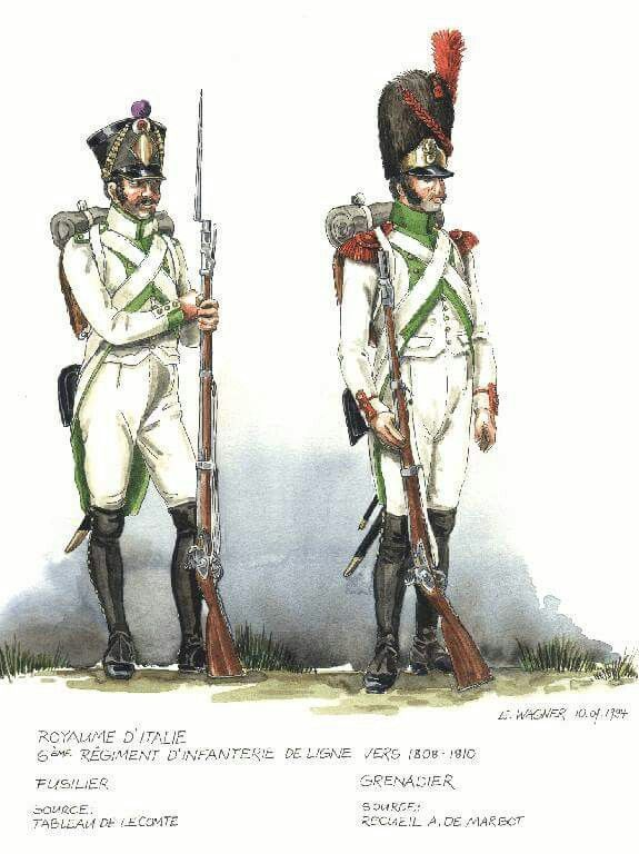 Italy; 6th Line Infantry; Fusilier & Grenadier, 1808-10