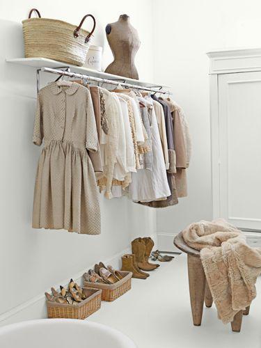Simple and spacious walk-in closet. #storageideas