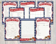 All-Star Baby Shower 8-Game Pack, Sports Baby Shower by WeeBabyShower on Etsy https://www.etsy.com/listing/257813840/all-star-baby-shower-8-game-pack-sports