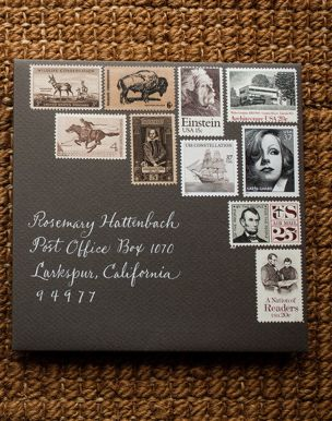 i do this! i love to use old stamps in interesting combos. lovely vintage stamp combo | Style Me Pretty