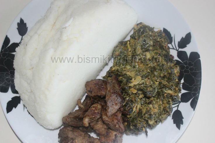 EAST AFRICAN MEAL This is a basic lunch or dinner menu in Kenya or Tanzania. Consists of corn meal (Ugali similar to fufu but made with corn flour) with some AMARANTH (local vegetable known as mchicha) and some fried meat. It is a meal fit for a King!