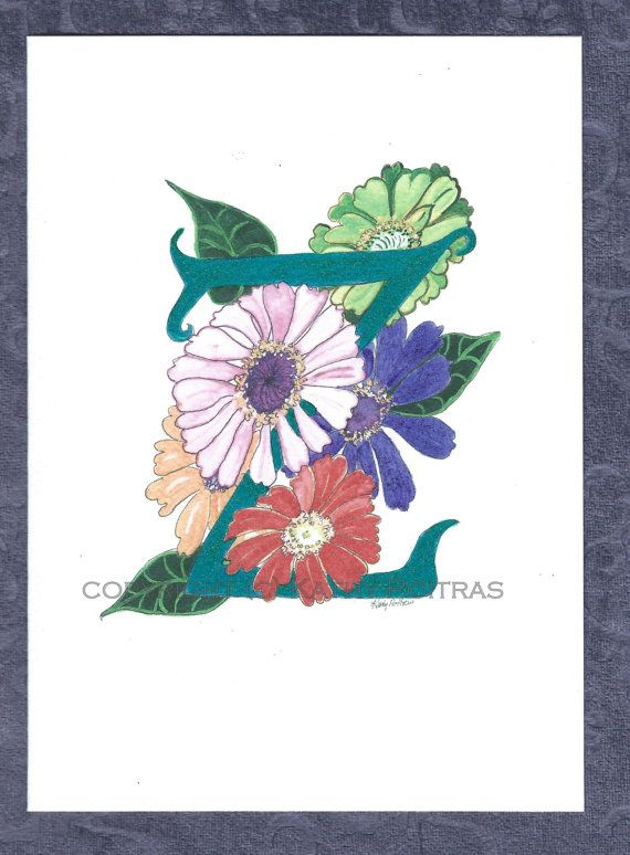 Z is for Zenias Floral letter Z personalized by KathyPoitrasArt