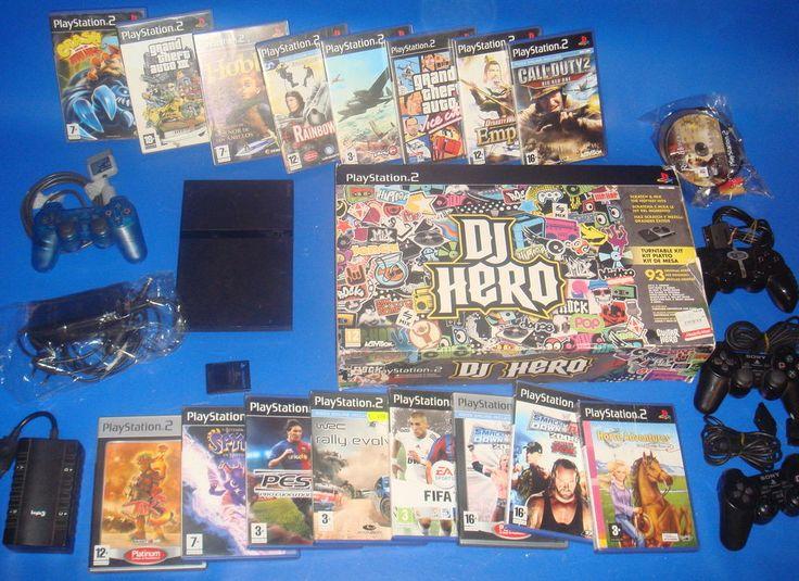 Consola PLAYSTATION 2 -19 juegos-super lote!!-djhero-multitap y 4 mandos!