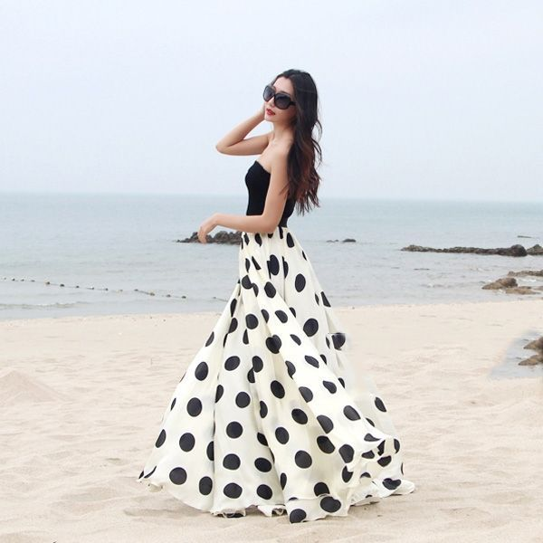 Love the polka dot skirt. Could maybe make a black bustier and bolero to go with it. What do you think?