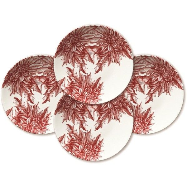 Caskata Poinsettia Dessert Plates Set of 4 ($135) ❤ liked on Polyvore featuring home, kitchen & dining, dinnerware, holiday plates, caskata plates, caskata, contemporary dinnerware and caskata dinnerware