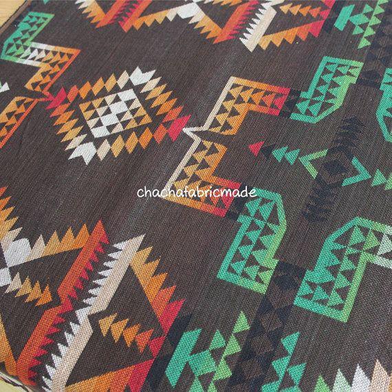 Katoen Tribal stof etnische stof Azteekse stof door ChaChaFabricMade