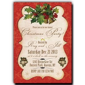 Christmas Party Invitation - Paper Scroll on red fabric background