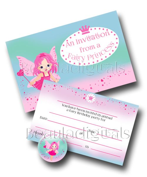 Fairy Princess Invitation  Card and Envelope.  Printable Download Template 30mm circle image for pendant is also included