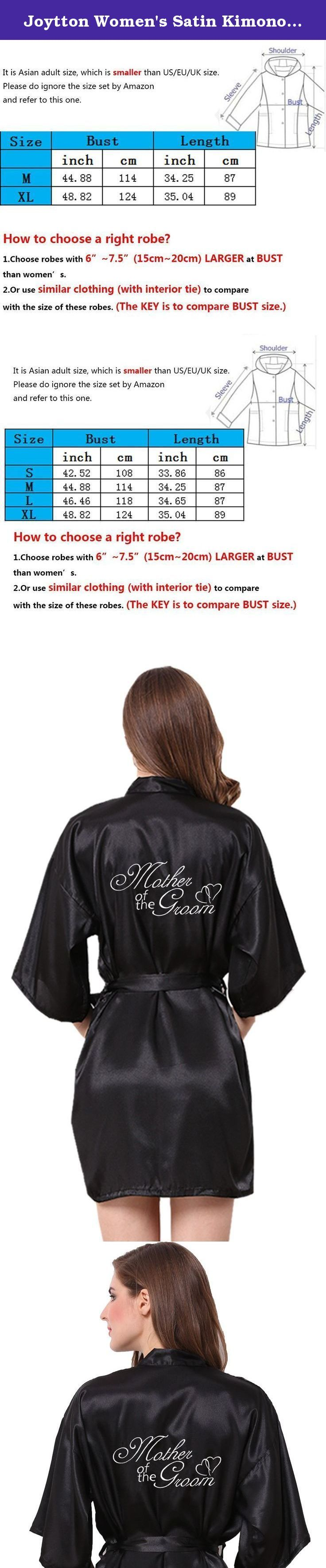 """Joytton Women's Satin Kimono Robe with Embroidered Mother of the Groom Black XL. Are You Looking For Wedding Party Robes with Embroid Signatures? These satin robes are beautifully embroidered with """"Mother of the Groom"""" design on back including an exquisite Mother of the Groom's signature and a romantic double-heart graphic,which makes a great gift for Mother of the Groom in the wedding party. Unlike many other bridal party robes with rhinestone graphic on back,easy to fall, this…"""
