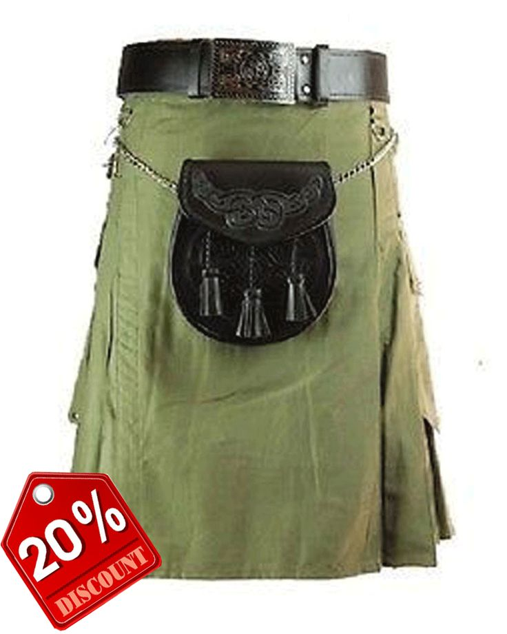 Olive Green #Military #Kilt Our handmade kilts are built to last and will withstand any manly task you put them up to. The style is traditional with added functionality. The custom  #Button placement and ‪ #Buckle closure give our kilts a unique flare you won't find anywhere else.  #RoyalKilt Visit our online kilt shop we offer most authentic and latest. http://royalkilt.com/kilts/modern-kilts/olive-green-military-kilt.html