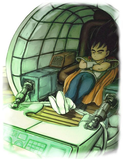 Kid Vegeta napping in his space pod - Visit now for 3D Dragon Ball Z compression shirts now on sale! #dragonball #dbz #dragonballsuper