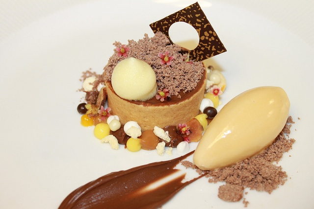 Chocolate Hazelnut Tart, Nutella Powder, Praline Gelato, Bitter Orange Foam, Gianduja Cremoso, Toasted Hazelnut, Banana Caramel Cream by Pastry Chef Antonio Bachour, via Flickr