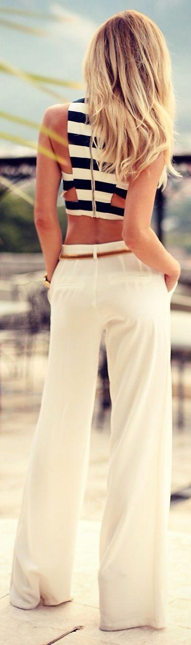nautical is always chic. Crop top stripeswhite pants brown belt