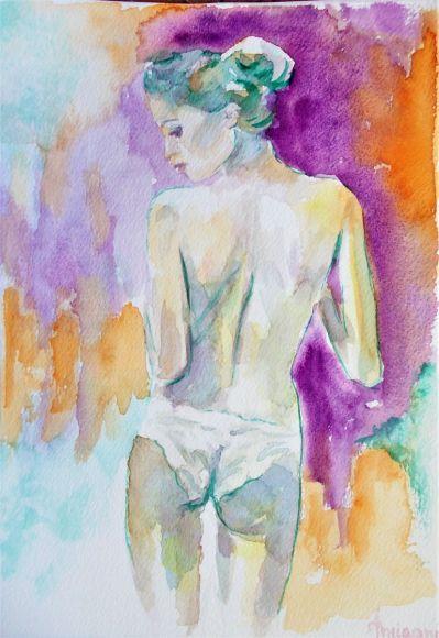 Nude 4-Original watercolor painting