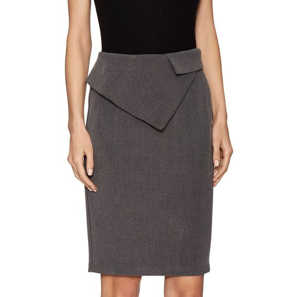 PURE NAVY Women's Peplum Pencil Skirt - Grey, Size 2 ($79) ❤ liked on Polyvore featuring skirts, grey, grey skirt, gray pencil skirt, gray skirt, navy skirts and grey pencil skirt