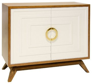 Harrison Hollywood Regency White/Brown Wood/Brass Media Cabinet - transitional - Media Storage - Kathy Kuo Home