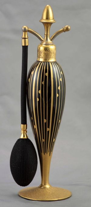 "Here is an example of a gorgeous high end and rare DeVilbiss perfume atomizer, 9 1/4"" tall, 1926, catalog # L29."