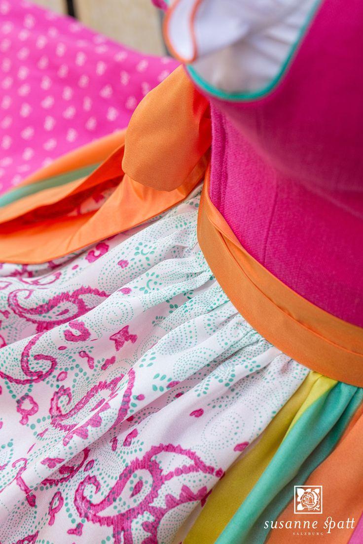 Susanne Spatt - Dirndl Marie linen pink, cotton panel skirt (DKS14406-BK), Silk apron pink, original woodblock handprinting (DKS14521-K)