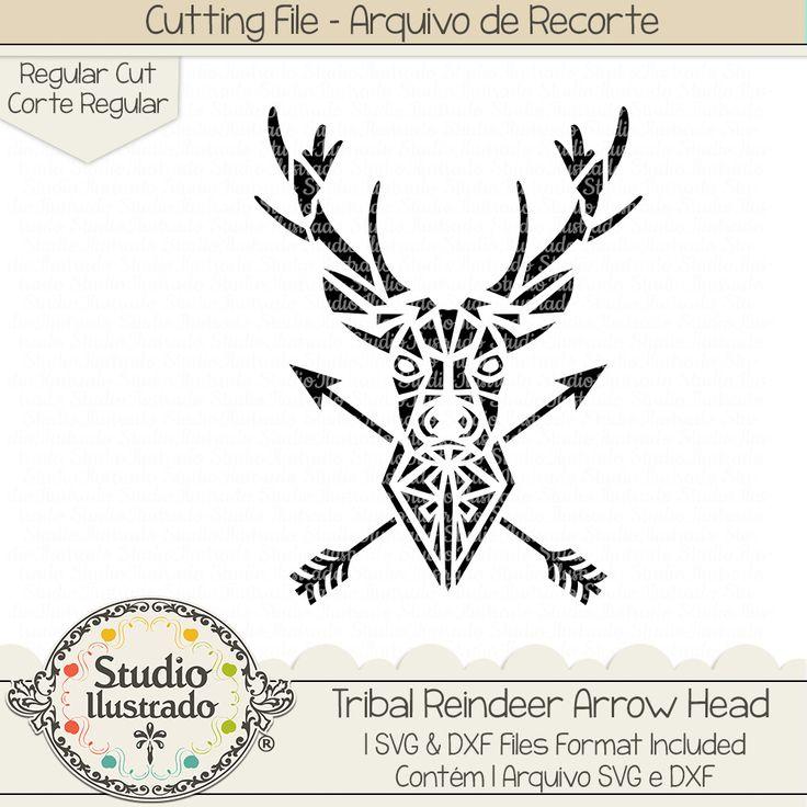 Tribal Reindeer Arrow Head, Tribal Reindeer, Arrow Head, Tribal, Reindeer Arrow Head, Reindeer, Arrow, Head, Rena, Veado, cabeça, animal, wild, selvagem, forest, woods, farm, floresta, fazenda, Chifres, galhada, galhadas, animal, selvagem, wild, Antlers, setas, flecha, flechas, seta, setas, arquivo de recorte, corte regular, regular cut, svg, dxf, png, Studio Ilustrado, Silhouette, cutting file, cutting, cricut, scan n cut.