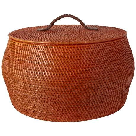 Rattle Lidded Basket 29cm Orange
