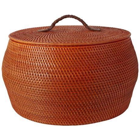 Rattle Lidded Basket 29cm Orange