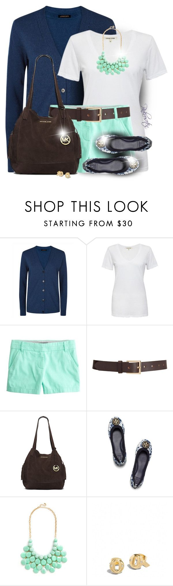 """""""Buttoned-Up Cardigan and Shorts"""" by pinkroseten ❤ liked on Polyvore featuring Jaeger, Cotton Citizen, J.Crew, Barneys New York, Michael Kors, Tory Burch and Coach"""