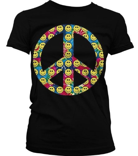 Neon Peace Sign Smiley Faces Juniors T-shirt Juniors Funky Trendy Hot Neon Peace Sign Shirt X-Large Pink