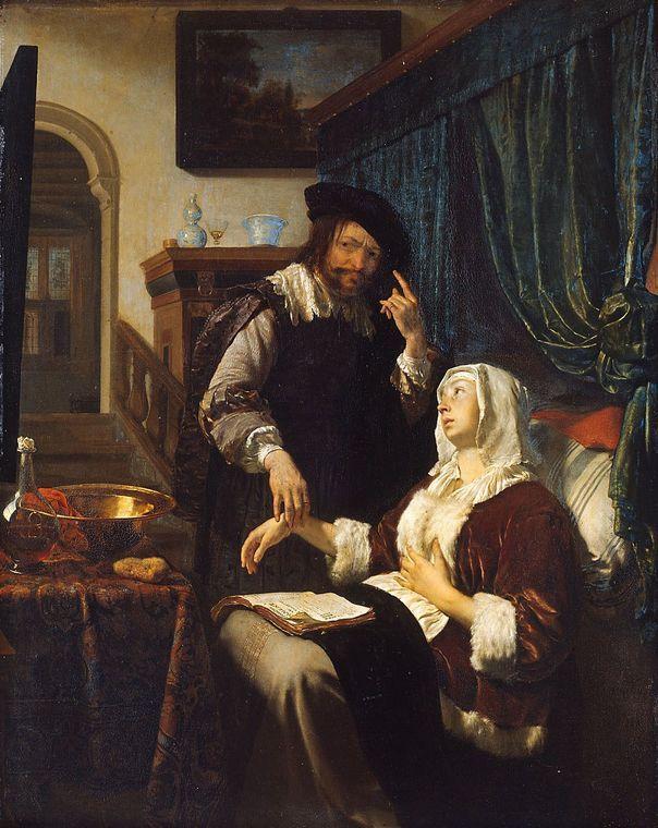 Frans van Mieris d. Ä.   (1635 - 1681 Leiden)   Besuch des Arztes (Die Liebeskranke)  1657 datiert  Kupfer vergoldet, 34 x 27 cm  © Kunsthistorisches Museum Wien