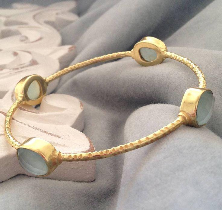 gold and aqua bangle by ashiana for hurleyburley | notonthehighstreet.com