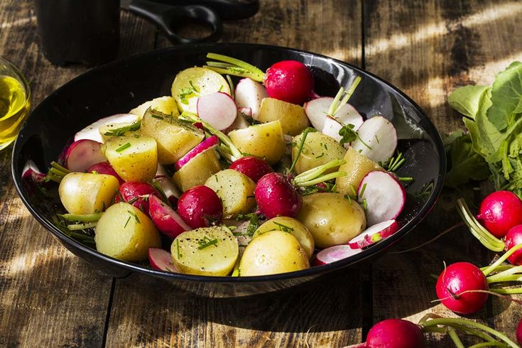 Recipe for potato salad with radish at the bottom of the page.