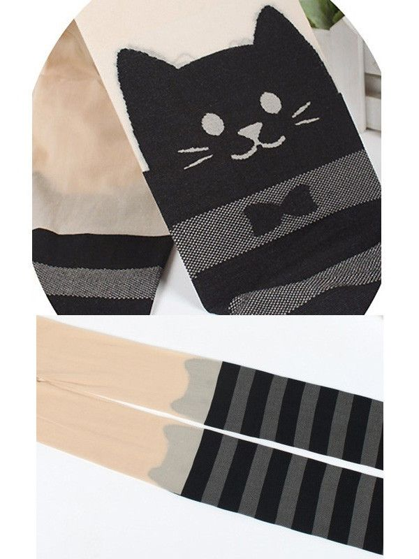 Japanese Kawaii cat stripped tights $15 #asianicandy #kawaii #cattights: