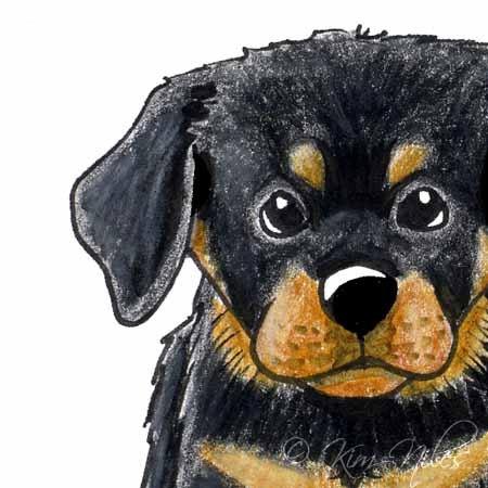 Rottweiler Dog Art Original ACEO Cartoon Illustration