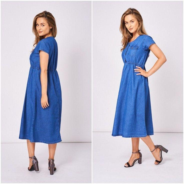 Womens Ladies Midi Blue Denim Prairie Dress Short Sleeve Rockabilly Vintage Boho