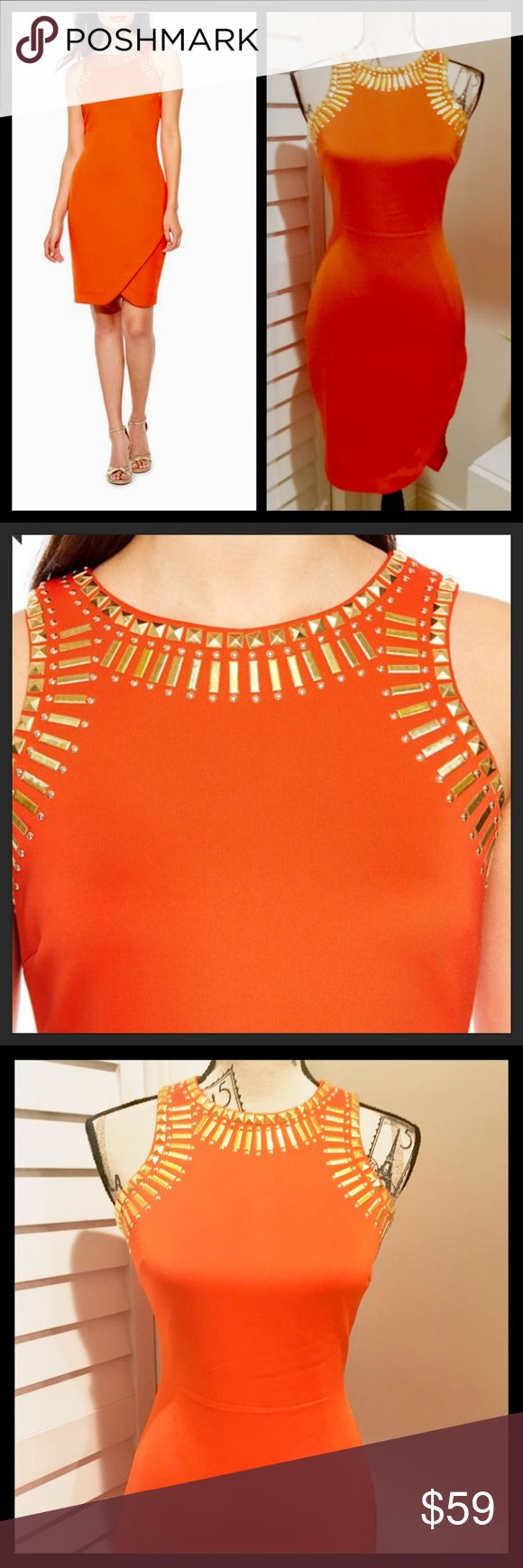 NWT Stunning Sleeveless Fire Orange Mini Dress NWT Stunning Sleeveless Embellished Collar in Gold Sheath Mini Dress Melrose Dresses Mini