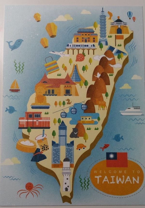 lovely Taiwan travel map design in flat