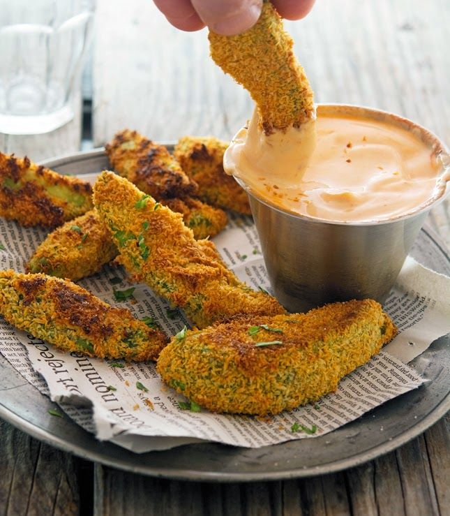 Coconut Crusted Baked Avocado Fries with Sriracha Mayo  (Use non-dairy yogurt or sour cream.)