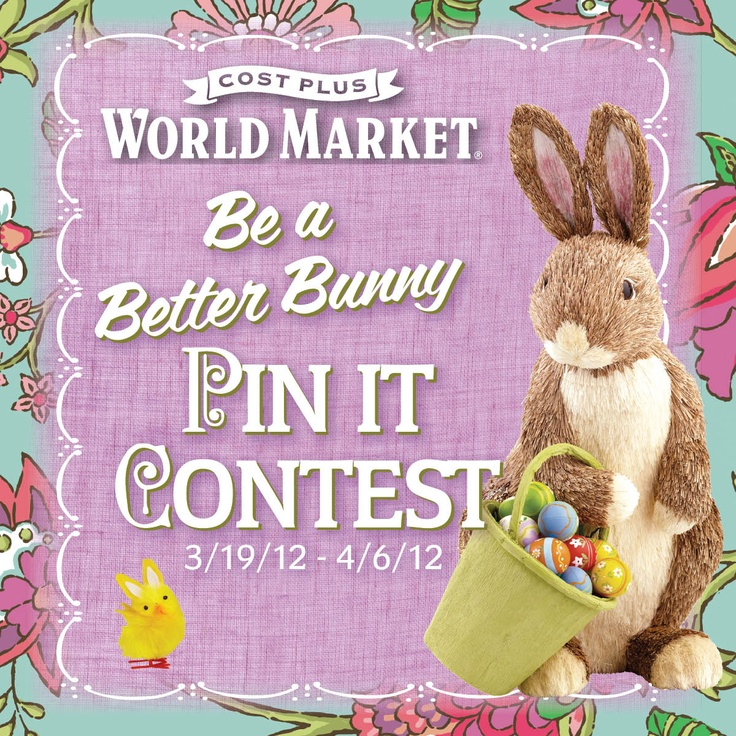 Enter our Be a Better Bunny Pin It Contest for a chance to win a World Market gift card. Click for more details on how to enter.Marketing Gift, Bunnies Easter, Easter Entertainment, Better Bunnies, Gift Cards, Favorite Stores, Pinterest Contest, Cool Stuff, Bunnies Pin