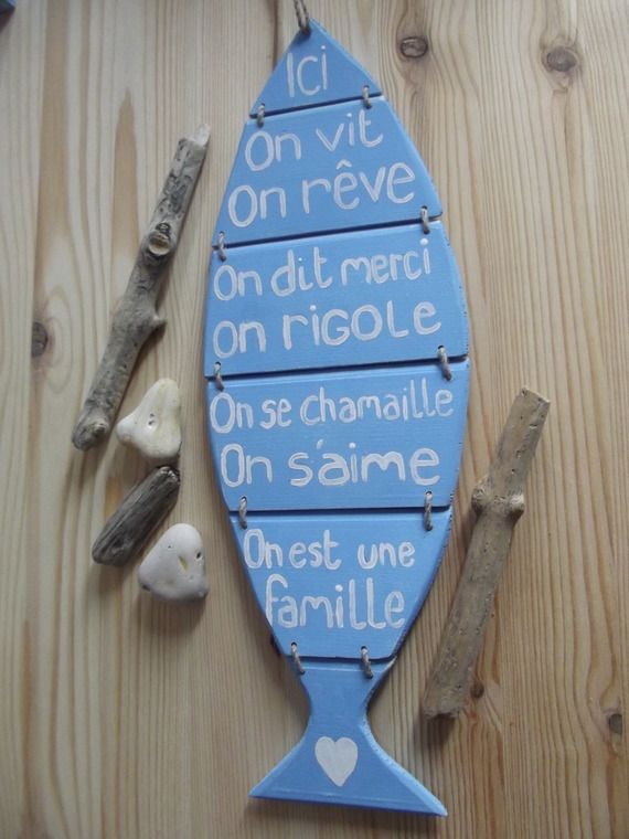 pancarte en bois poisson  et ses messages - RESERVE