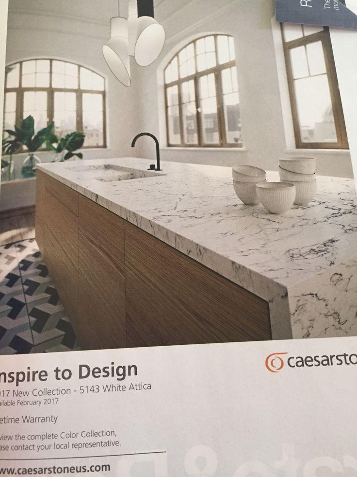Caesarstone 5143 White Attica Quartz Made To Look Like